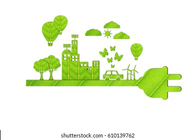 Green city - Ecology concept made from green leaves.