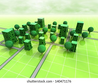 green city orthogonal structure concept illustration