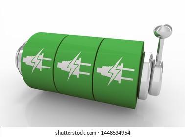 Green Clean Electric Power Energy Slot Machine Jackpot Winner 3d Illustration