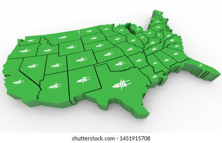 Green Clean Energy Electricity Power USA United States Map 3d Illustration