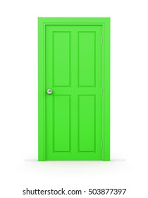 green close door on white background 3d rendering