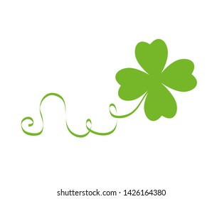 green cloverleaf isolated on white background  illustration