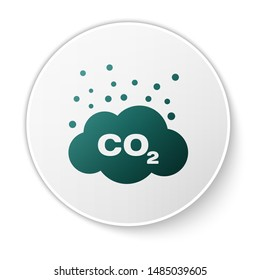 Green CO2 emissions in cloud icon isolated on white background. Carbon dioxide formula symbol, smog pollution concept, environment concept. White circle button