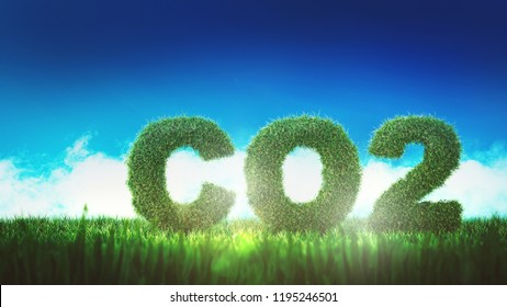 Green CO2 formula sign from low angle, fresh grass against blue sky in concept of ecological bio technologies, reducing carbon dioxide emission. 3d Rendering.