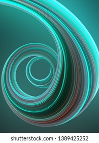 Green colored abstract twisted shape. Computer generated geometric illustration. 3D rendering