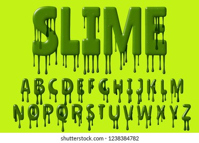 Green colored design font with 3D rendering and dripping letters isolated on light green background, slimy alphabet set for invitation, poster, greeting card