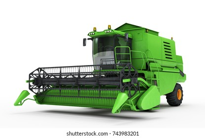 Green combine harvester isolated on a white background moving from right to left. Front side view. 3D illustration