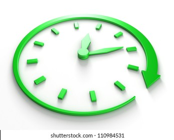 green concept clock dial with arrow around