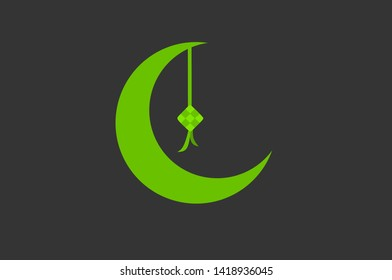 Green crescent moon and ketupat flat design background