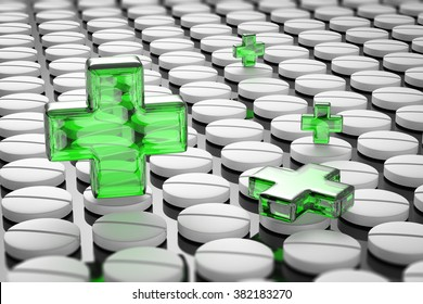green cross on pills background