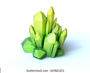 Green crystal 3d rendering