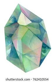 green Crystal Cluster gemstone watercolor painting