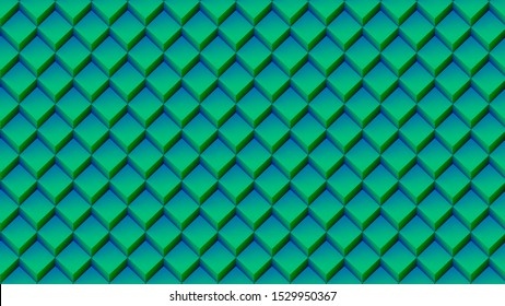 green cubes pattern geometric background 3d illustration