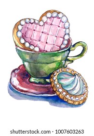 green cup of tea with cookie  sweetheart. Watercolor illustration.