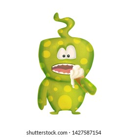 Green cute cartoon funny monster with ice cream on the white background