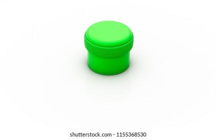 Green cylinder on white background 3d illustration