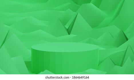 Green cylindrical stand, abstract green background with cylinder shape podium, 3d render