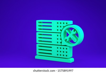 Green Database server with screwdriver and wrench icon isolated on blue background. Adjusting, service, setting, maintenance, repair, fixing. Minimalism concept. 3d illustration 3D render