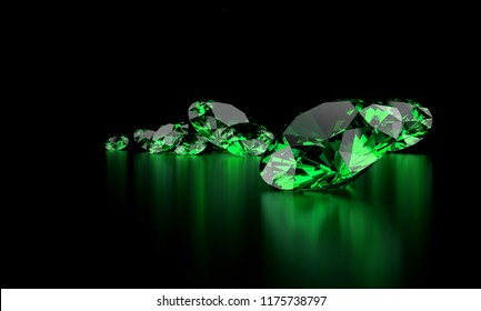 Green Diamond Group In Dark Background, 3d illustration.