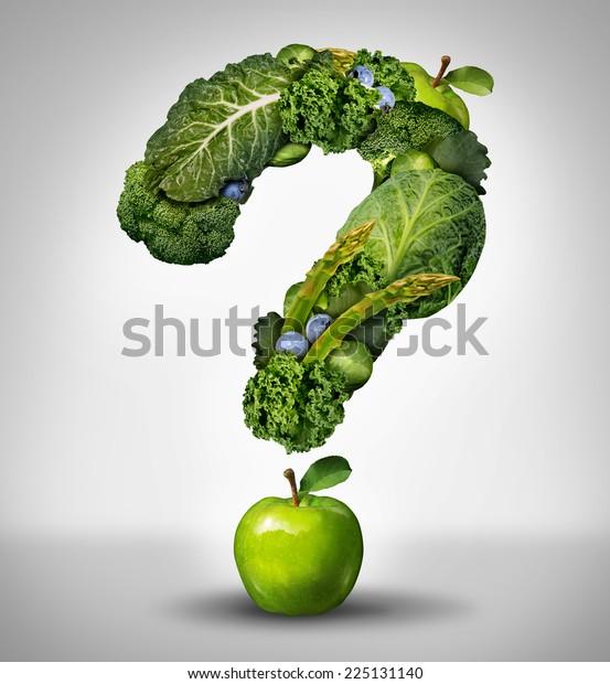 Grüne Diät Fragen Konzept als eine Gruppe von frischem Obst und Gemüse in Form einer Fragezeichen als Symbol für gute hohe Faser gesunde Ernährung und Informationen über natürliche Ernährung.