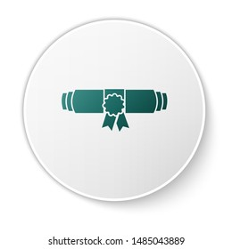 Green Diploma rolled scroll with stamp and ribbon icon isolated on white background. Paper scroll with wax seal. Graduation concept. Business certificate. Green circle button