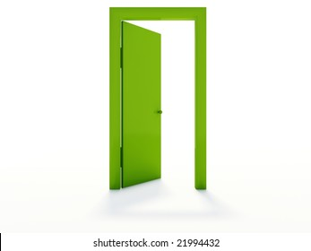 Green door isolated on white