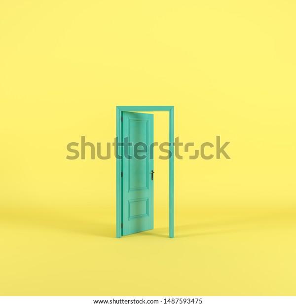 Green door Open entrance in yellow background room. minimal concept idea creative. 3D render