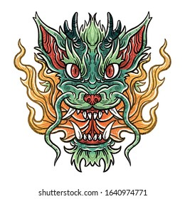 Green dragon head with fire illustration