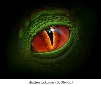Green dragon`s eye digital realistic painting.