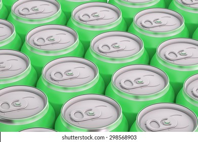green drink metallic cans, top view isolated on white background
