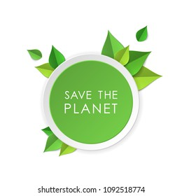 Green earth concept with paper cutout green leaves. World Environment Day, June 5. Ecology, nature protection concept. Save the planet. Template for banner, poster, leaflet.