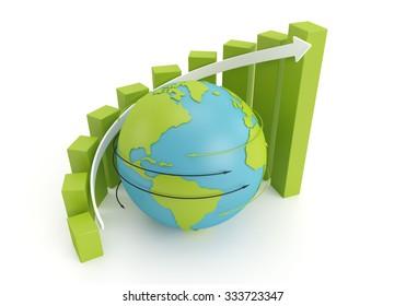 green earth globe with grow bar chart on arrow around. 3d image