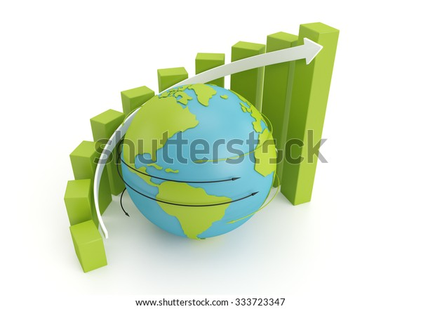 green earth globe with grow bar chart on arrow around. 3d image