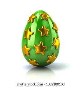 Green Easter egg with golden stars 3d illustration on white background