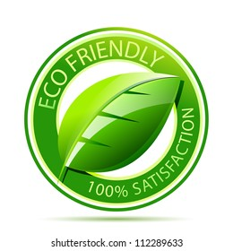 Green eco friendly icon with leaf