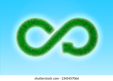Green Eco-friendly and circular economy concept. Infinity arrow recycling symbol with green grass texture, on blue sky bright sunlight background. 3D illustration.