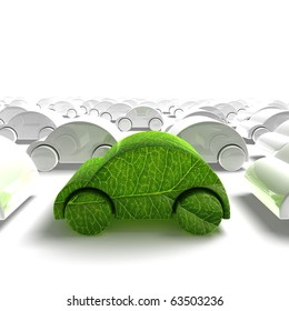 green ecology car traffic - 3D render