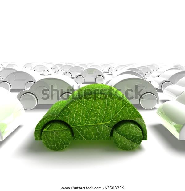 green ecology car traffic - 3D render