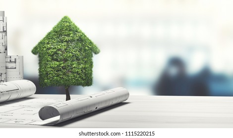 Green and ecology house with buildings projects, 3d render illustration