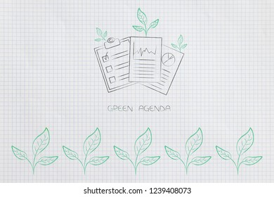 green economy conceptual illustration: green agenda documents with leaves growing out of them and other leaflets lined up below