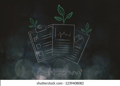green economy conceptual illustration: green agenda documents with leaves growing out of them