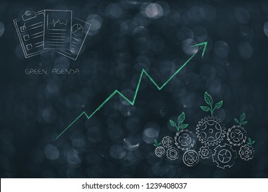 green economy conceptual illustration: ecology mechanism with leaves growing on gearwheels with green business documents and positive stats