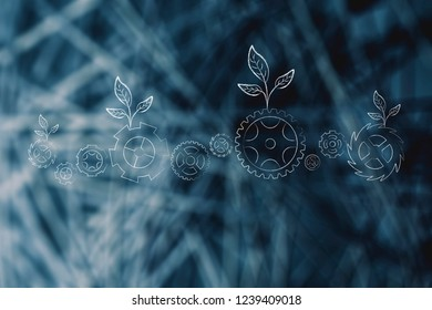 green economy conceptual illustration: ecology mechanism with leaves growing on gearwheels lined up