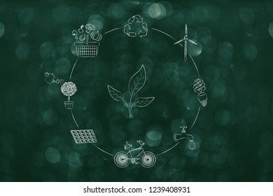 green economy conceptual illustration: leaves surrounded by ecology-related icons