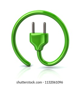 Green electric plug icon 3d illustration on white background