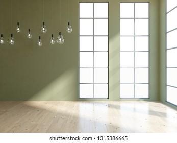 green empty interior. 3d illustration
