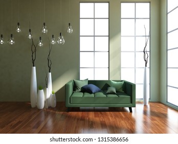 green empty interior with a green sofa and vases. 3d illustration