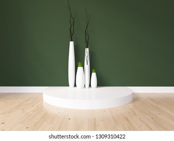 green empty interior with vases. 3d illustration