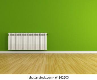 green empty room with hot water radiator - rendering