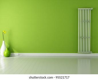 green empty room with hot water vertical radiator - rendering